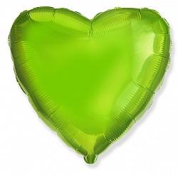 Шар Сердце фольга лайм 46 см