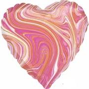 "Сердце фольга ""Мрамор Pink"""