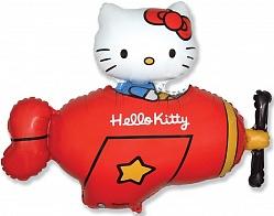"Шар Фигура фольга ""Hello Kitty самолет красный"""