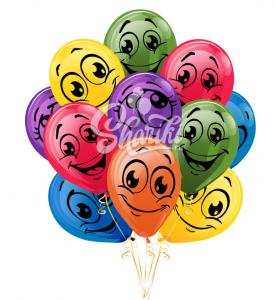 """Облако шаров """"Смайлики разноцветные"""""""