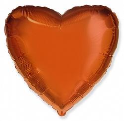 Шар Сердце фольга оранжевый 46 см
