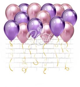 """Шары под потолок """"Хром Фиолет+розовый"""""""