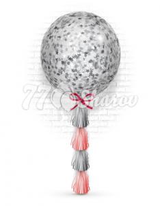 Шар Большой 90 см на тассел гирлянде (конфетти звезды серебро)