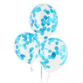 """Прозрачный шар 14""""/36 см,с конфетти голубые бум.круги"""