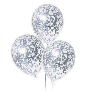 Прозрачный шар с конфетти прямоуг. серебро, 36 см