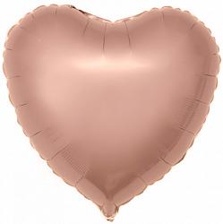 Шар Сердце фольга розовое золото 46 см