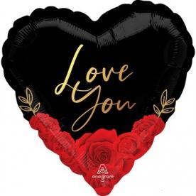 """Сердце фольга """"Любовь,розы"""""""