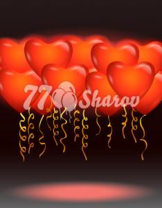 """Светящиеся шары 16/41 см """"Сердца красные"""""""