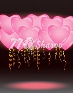 """Светящиеся шары 16/41 см """"Сердца розовые"""""""