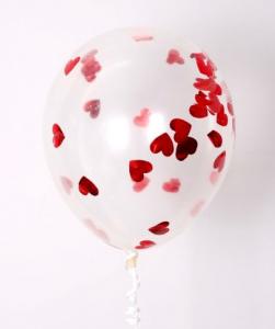 """Прозрачный шар 14""""/36 см,с конфетти красные сердца фольга"""