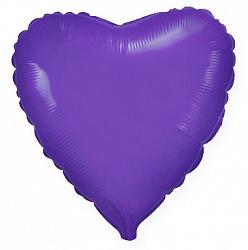 Шар Сердце фольга фиолетовый 46 см