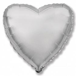 Шар Сердце фольга серебро 46 см