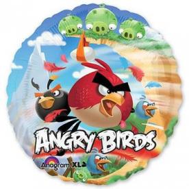 "Шар Круг фольга 18"" HeSAVER Angry Birds, 45 см"