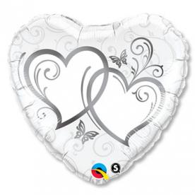 """Шар Сердце фольга 18"""" Сердца переплетенные Silver"""