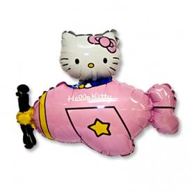"Шар Фигура фольга ""Hello Kitty самолет розовый"""
