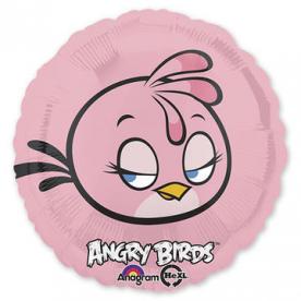 Шар Круг фольга Розовая Птица, 45 см