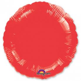 Шар Круг фольга красный 46 см