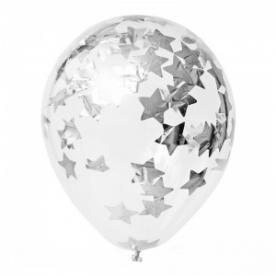 """Прозрачный шар 14""""/36 см,с конфетти звезды серебро"""