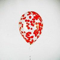 """Прозрачный шар 14""""/36 см,с конфетти красные бум.круги"""