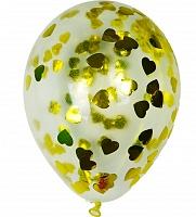 """Прозрачный шар 14""""/36 см,с конфетти золотые сердца фольга"""