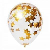 """Прозрачный шар 14""""/36 см,с конфетти золотые звезды"""