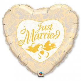 "Шар Сердце фольга 18"" Just Married Ivori, Gold"