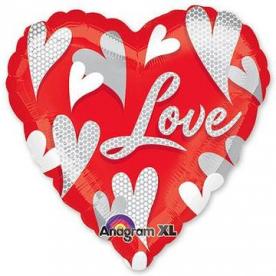 Шар Сердце фольга Love Водоворот сердец, 41 см