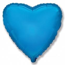 Шар Сердце фольга синий 46 см