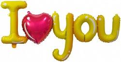 """Надпись буквы """"I Love you"""",золото"""
