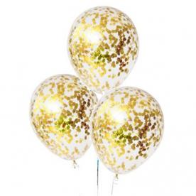 """Прозрачный шар 14""""/36 см,с конфетти прямоуг. золото"""