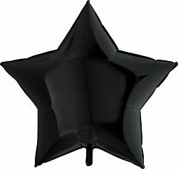 Шар Звезда фольга черный 81 см